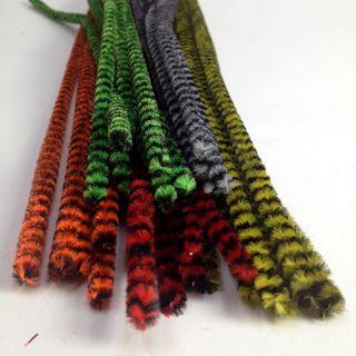 Chenille Sticks 6mm Stripe Animal Pkt 20