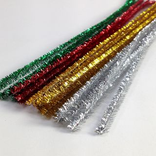 Chenille Tinsel 6mm Xmas1 Pkt 20