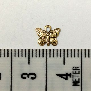 Metal Charms B'fly Gold Small Pkt 12