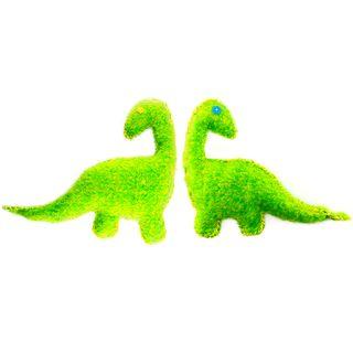 Cute Dinosaur Shaggy Felt Groovy Green