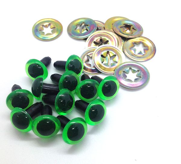 Eyes Crystal 12mm Green Pkt 12