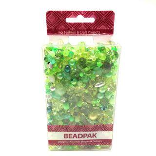 Beadpak Box Green/Crystal/Silver 200g