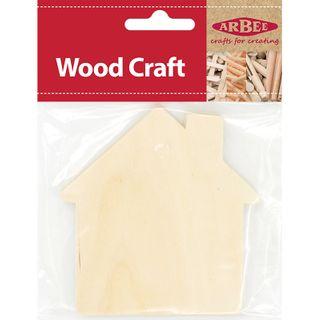 Plywood Shape House 95x100x2mm Pkt 4