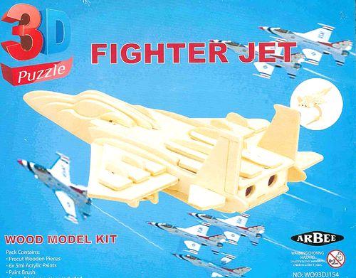 Wooden 3D Puzzle Fighter Jet