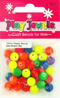 Bead 10Mm Round Fluro Bright Asst 20G