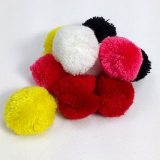 Fibre Pom Poms 30mm Assorted Pkt 10