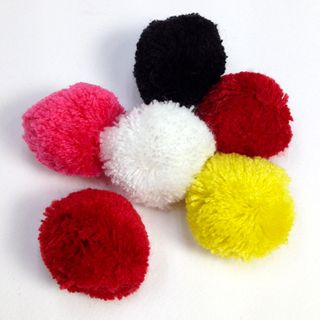 Fibre Pom Poms 40mm Assorted Pkt 6