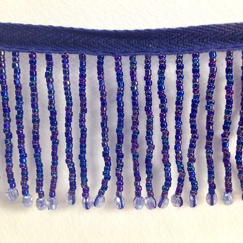 Bead Fringe Trim Royal Blue AB 13m