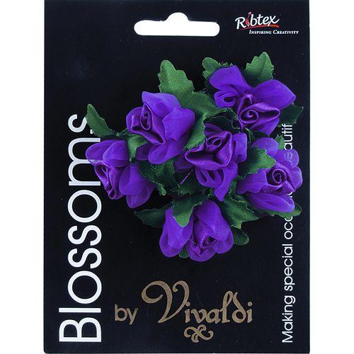 Flower Organza Rose Bud 6Head Purple
