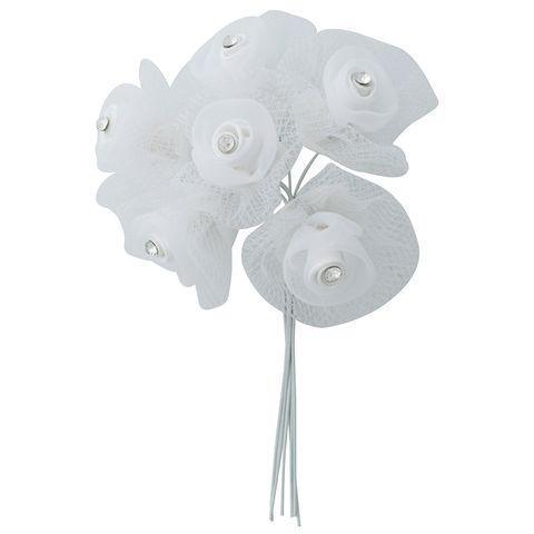 Flower Organza Tulle Diamante 6Head WH