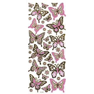 Sticker Butterflies Gold/Pink Glitter