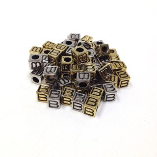 Alphabet Beads Block Gold/Silver Pkt144