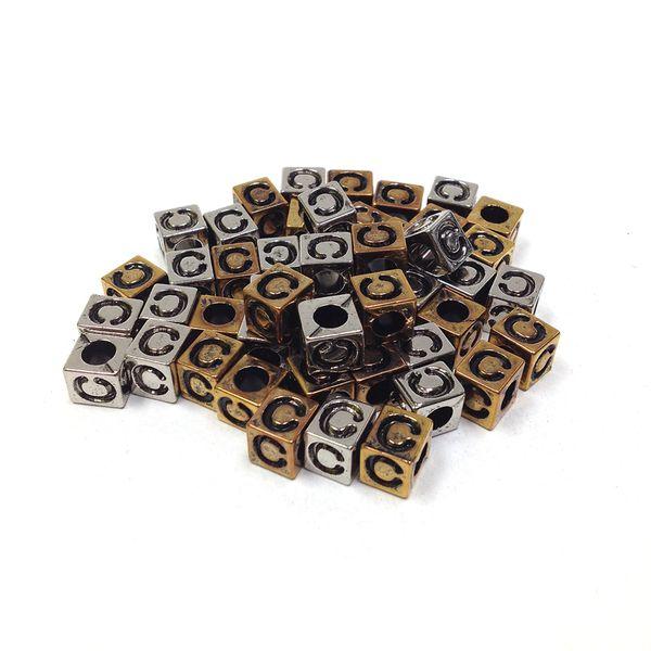 Alphabet Beads Block Gold/Silver C