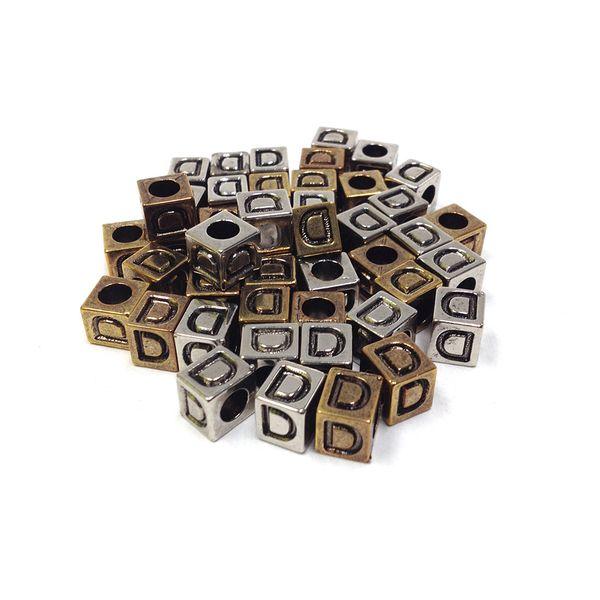 Alphabet Beads Block Gold/Silver D