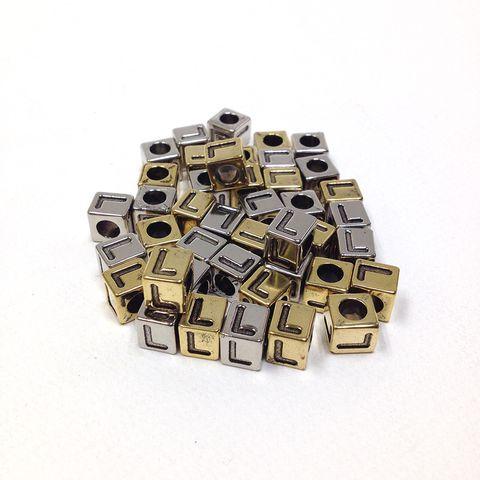 Alphabet Beads Block Gold/Silver L