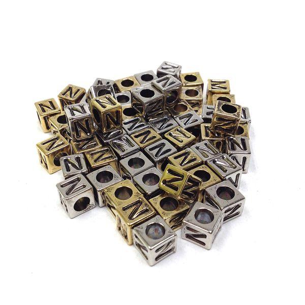 Alphabet Beads Block Gold/Silver N