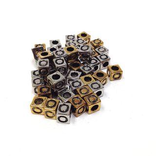 Alphabet Beads Block Gold/Silver O