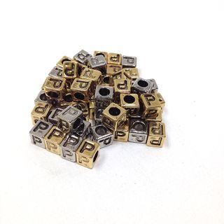 Alphabet Beads Block Gold/Silver P