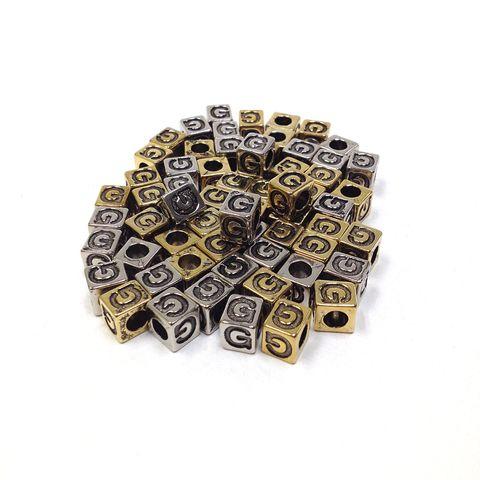 Alphabet Beads Block Gold/Silver G