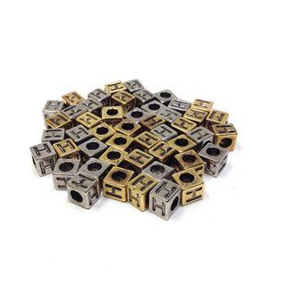 Alphabet Beads Block Gold/Silver H