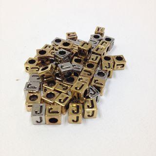 Alphabet Beads Block Gold/Silver J