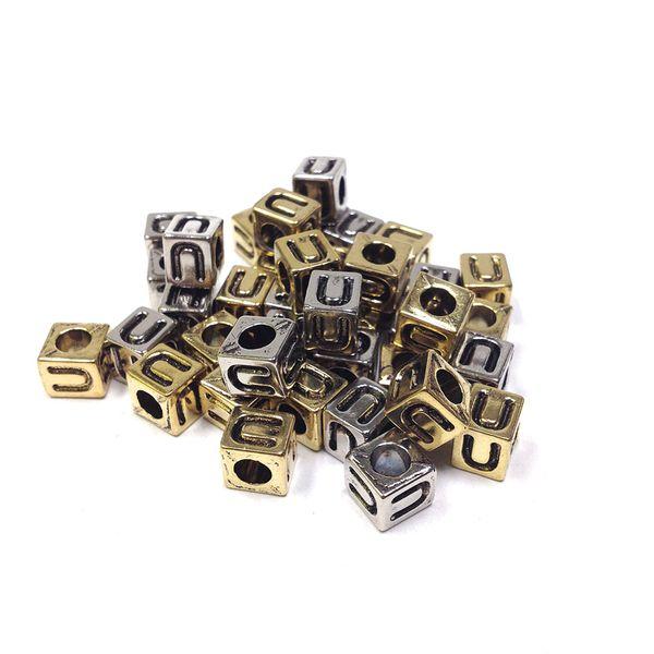 Alphabet Beads Block Gold/Silver U