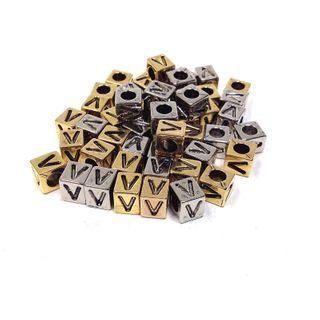 Alphabet Beads Block Gold/Silver V