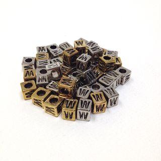 Alphabet Beads Block Gold/Silver W