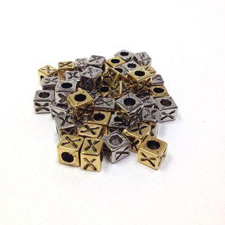 Alphabet Beads Block Gold/Silver X