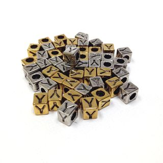 Alphabet Beads Block Gold/Silver Y