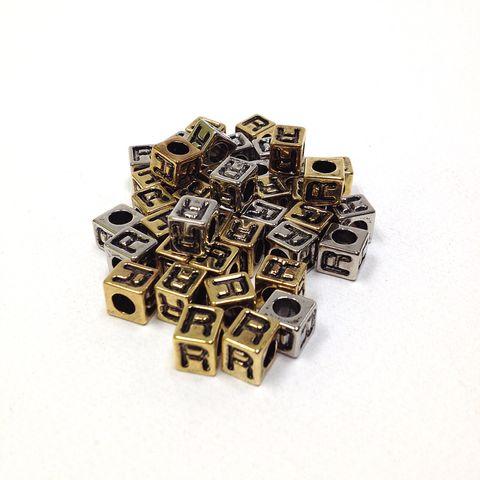 Alphabet Beads Block Gold/Silver R