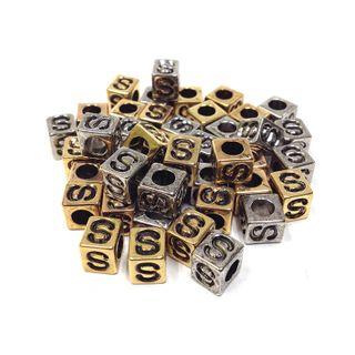 Alphabet Beads Block Gold/Silver S
