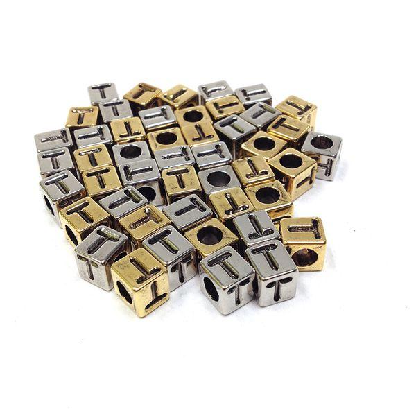 Alphabet Beads Block Gold/Silver T