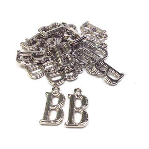 Alphabet Beads B Silver Pendant Pkt 144