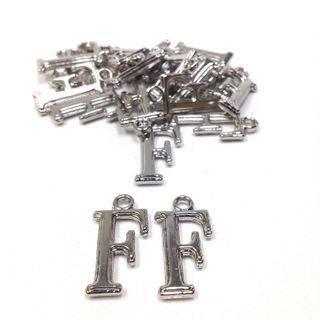 Alphabet Beads F Silver Pendant Pkt 2