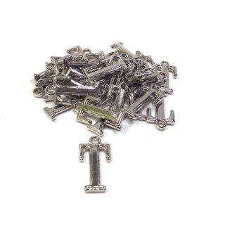 Alphabet Beads T Silver Pendant Pkt 2