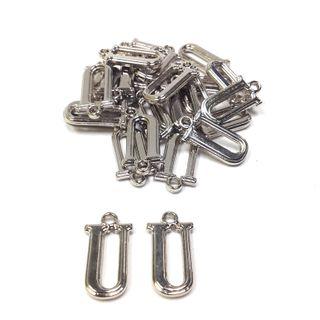 Alphabet Beads U Silver Pendant Pkt 2