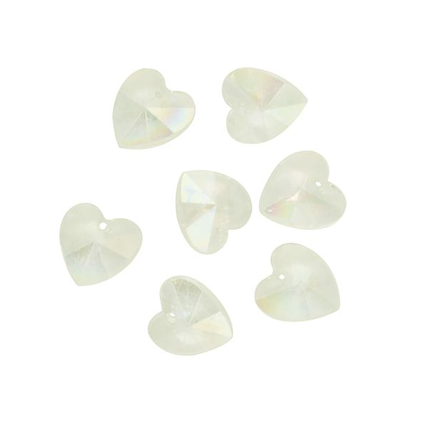 Bead Faceted Heart AB Crystal 12Pcs