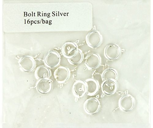 Clasp Bolt Ring 8mm Silver 16Pcs