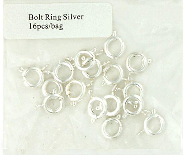 Clasp Bolt Ring 8mm Silver 16Pcs