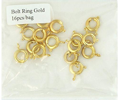 Clasp Bolt Ring 8mm Gold 16Pcs