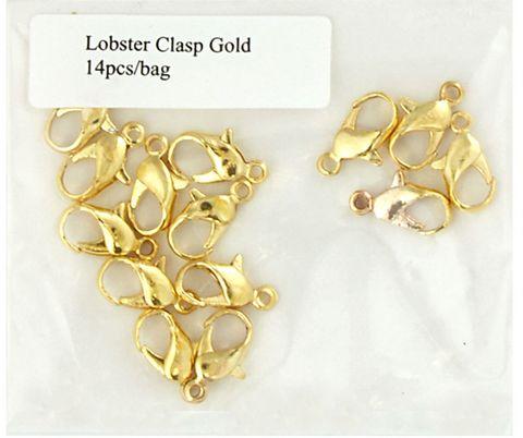 Clasp Lobster 11mm Gold 14Pcs