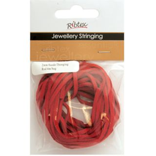 Suede Thonging 2mm Red 4m