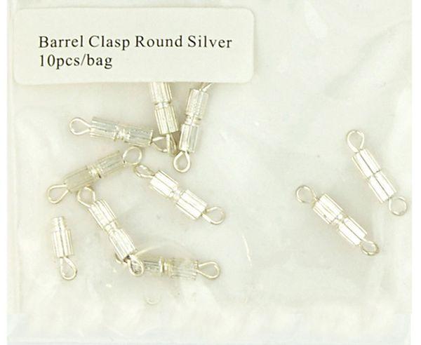 Clasp Barrel 17mm Round Silver 10Pcs