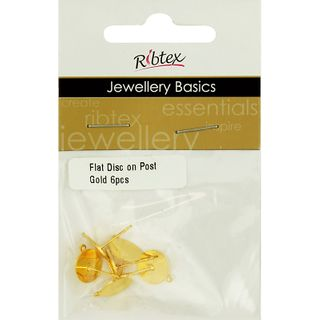 Flat Disc On Post With Jump Ring 6Pcs