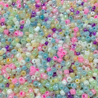 Seed Beads Assorted Sizes Pastel Mix 50G