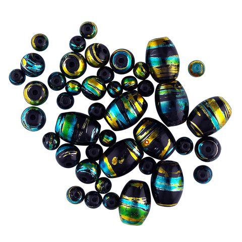 Bead Glass Metallic Stripe Blk 50Pcs