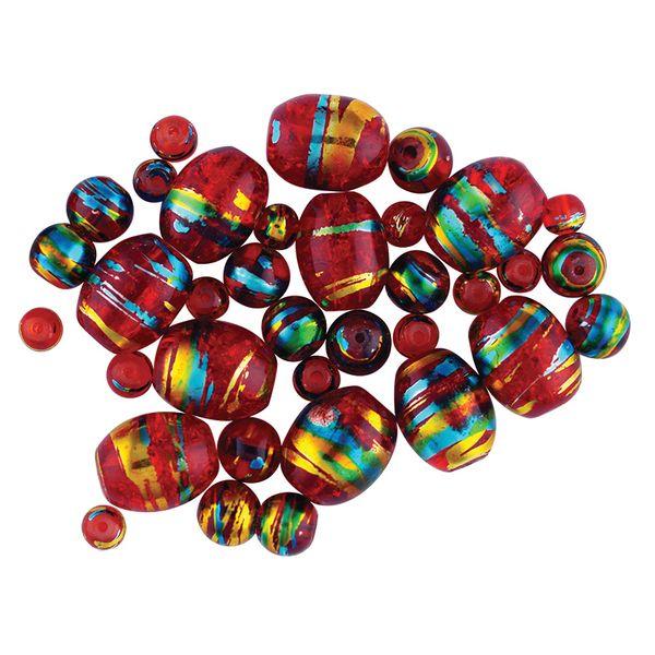 Bead Glass Metallic Stripe Rust 50Pcs