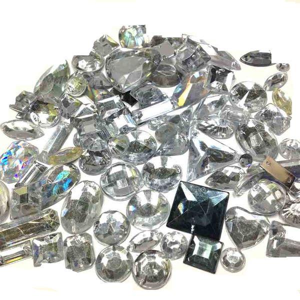 Gemstone Box Mixed Clear/Silver 100g