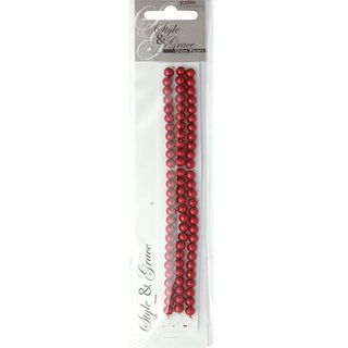 Bead Glass Pearls 6Mm Red 81Pcs